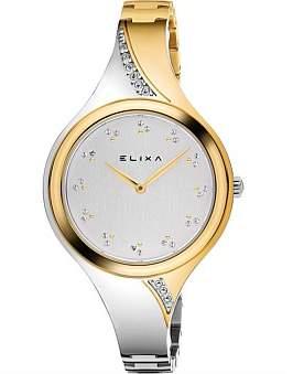 Elixa Beauty Stainless Steel & Yellow Plated Watch