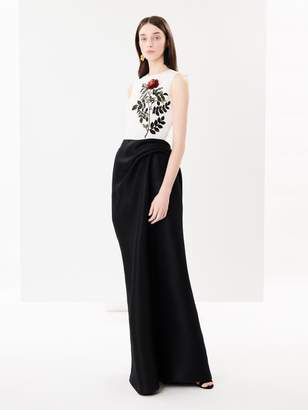 Oscar de la Renta Rose Sequin Embroidered Silk-Faille and Draped Silk-Gazar Gown