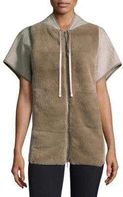 Lafayette 148 New York Rabbit Fur Short-Sleeve Hoodie