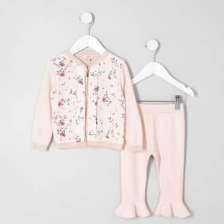 River Island Mini girls Pink floral cardigan legging set