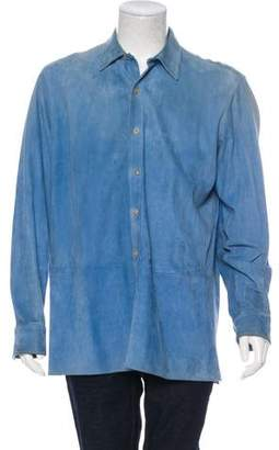 Ralph Lauren Purple Label Suede Button-Up Shirt