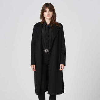 DSTLD Womens Wool Blanket Maxi Coat in Black