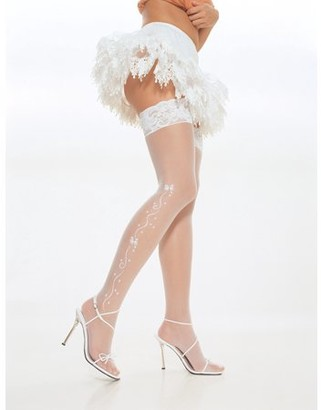 Leg Avenue White Wedding Bell Sheer Stocking Adult Halloween Accessory, One Size, (4-14)