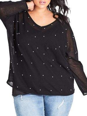 City Chic Plus Embellished Faux-Pearl Blouse