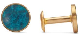 Alice Made This - Bayley Round Patina Brass Cufflinks - Mens - Blue