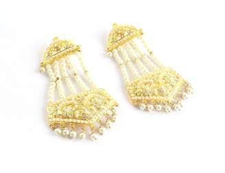Glamorous Collection Indian Wedding Bollywood Jadau Jhoomer Traditional Ethnic Punjabi Muslim Earrings