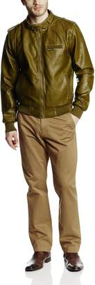 Members Only Men's Faux Leather Iconic Racer Outerwear Jacket
