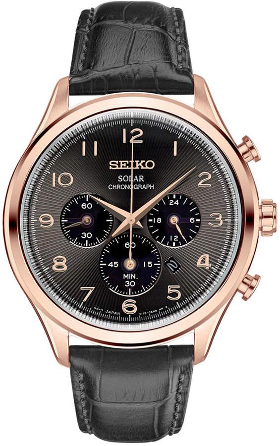 SeikoSeiko Men's Solar Chronograph Classic Black Leather Strap Watch 42mm SSC566