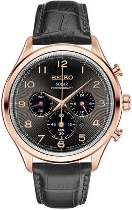 Seiko Men's Solar Chronograph Classic Black Leather Strap Watch 42mm SSC566