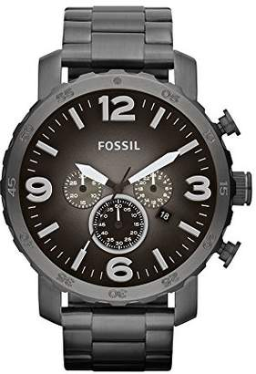 252f77c817fe Fossil Nate Chronograph Smoke Stainless Steel Watch – Analogue Men s Watch  with Quartz Movements