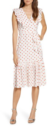 1901 Ruffle Front Polka Dot Tie Waist Dress