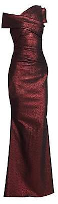 Talbot Runhof Women's Metallic Scuba Gown