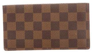 Louis Vuitton Damier Ebene Simple Checkbook Wallet