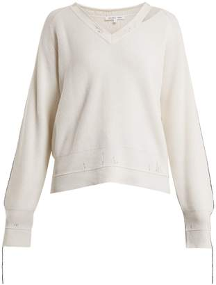 Helmut Lang V-neck cotton-blend sweater