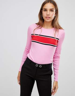 New Look Chest Stripe Long Sleeve Top