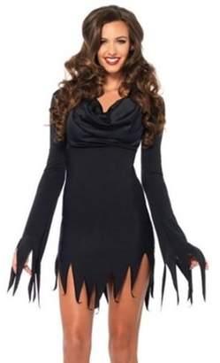 Leg Avenue Women's Cowl Neck Tattered Costume Dress, Black, Medium/Large