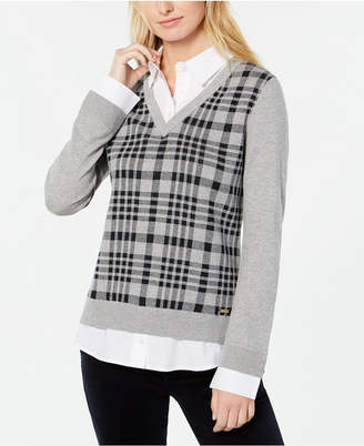 Tommy Hilfiger Plaid Layered-Look Sweater