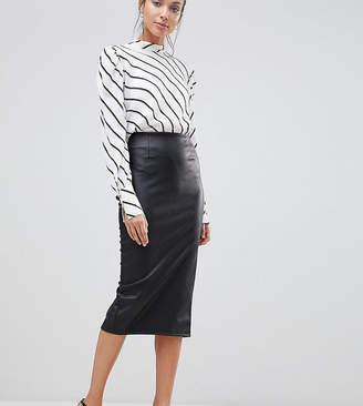 Asos Tall DESIGN Tall sculpt me leather look midi skirt