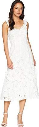 Rebecca Taylor Women's Sleeveless Lace Embroidered Midi Dress