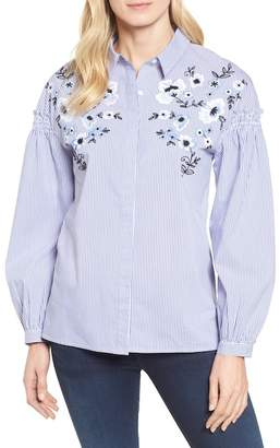 Halogen Embroidered Button Down Shirt (Petite)