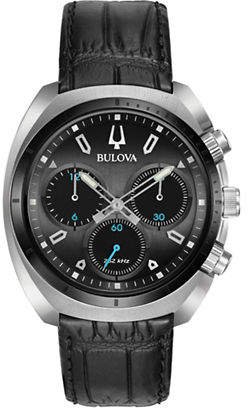 Bulova Chronograph Curv Collection Stainless Steel Leather Watch