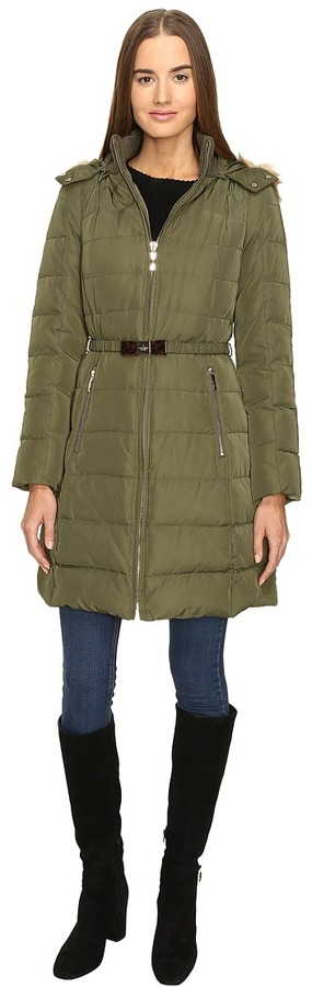 Kate Spade Kate Spade New York - Hooded Hard Down Coat w/ Faux Fur Trim 36 Women's Coat