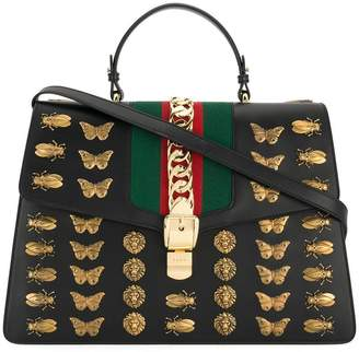 Gucci Black Sylvie animal studs Leather tote bag