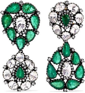 Amrapali 18-karat Gold, Sterling Silver, Diamond And Emerald Earrings - one size