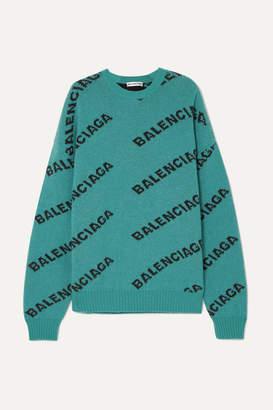 Balenciaga Oversized Intarsia Wool-blend Sweater - Turquoise