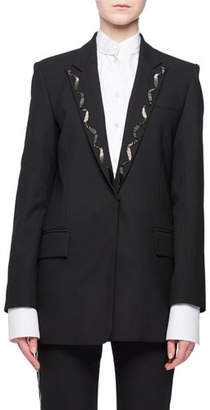 Victoria Beckham Victoria Hook-Eye Closure Wool-Blend Jacket w/ Beaded Collar