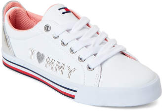 82c68010 Tommy Hilfiger Toddler/Kids Girls) White & Silver Arrin Logo Low-Top  Sneakers