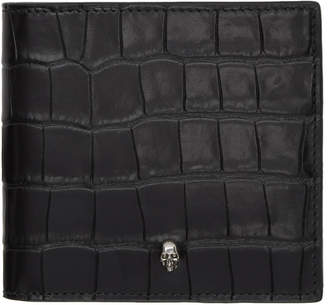 Alexander McQueen Black Croc Skull Wallet