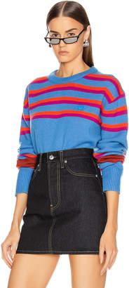 Acne Studios Nimah Stripe Face Sweater in Blue Multicolor | FWRD