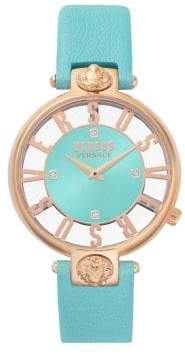 Versace Kristenhof Transparent Dial Swarovski Crystal Leather-Strap Watch