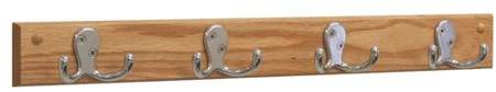 Wooden Mallet 4 Double Prong Hook Coat Rack