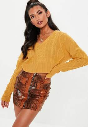 Missguided Mustard V Neck Cable Knit Cropped Sweater
