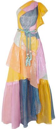 Peter Pilotto One-shoulder Color-block Metallic Silk-blend Organza Gown - Pink
