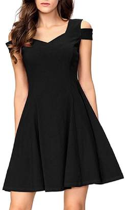 FieerWomen Sweetheart Solid Color Backless Cold Shoulder Mid and Maxi Dress M