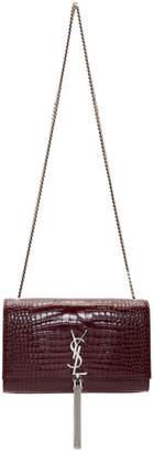 Saint Laurent Red Croc Medium Kate Tassel Bag