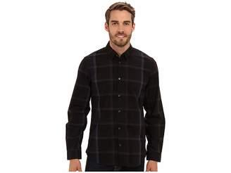 Calvin Klein YD Large Ombre Plaid Hidden Button Down Collar Shirt Men's Long Sleeve Button Up