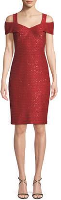 St. John Glamour Knit Sequin Cold-Shoulder Dress
