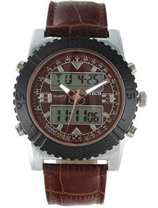 TIMETECH Men's Analog Digital Multi-Function Weekend Sport Watch with Leather Wrist Band