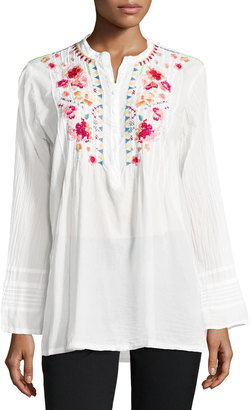 Johnny Was Sable Embroidered Tunic, White $185 thestylecure.com