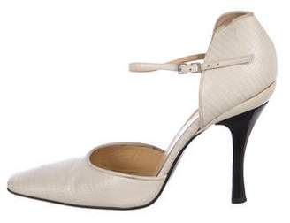 Gianni Versace Embossed Leather Square-Toe Pumps