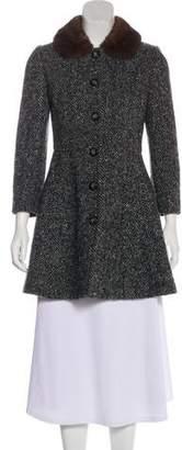 Dolce & Gabbana Mink Fur-Trimmed Herringbone Coat