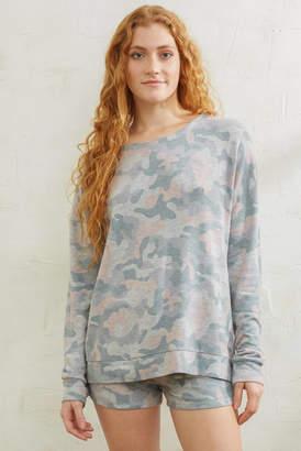 PJ Salvage Weekend Love Camo Sweatshirt Multi XS