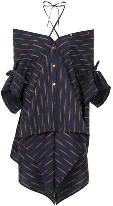Palmer Harding Palmer / Harding print off shoulder asymmetric shirt