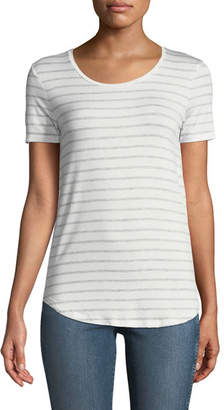 Majestic Scoop-Neck Striped Tee