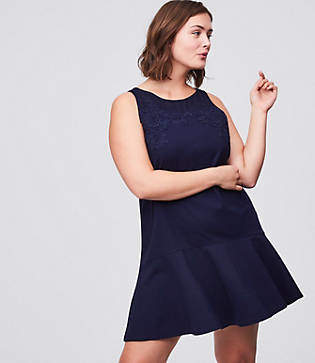 LOFT Plus Floral Lace Flippy Dress