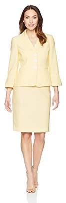 Le Suit Women's Seersucker 3 Bttn Notch Lapel Skirt